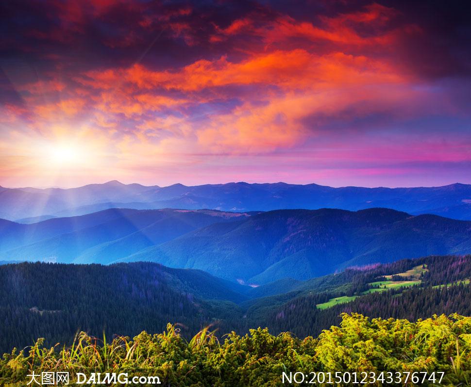 天空云彩树木群山自然风景高清图片 - 大图网设计素材
