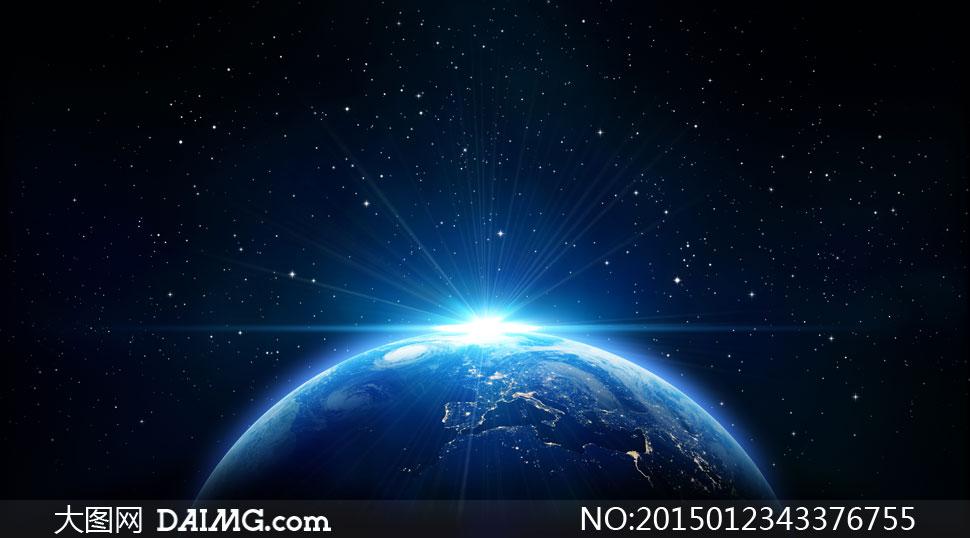 浩瀚星空中的日出景象创意高清图片