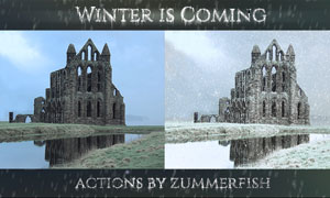 外景照片冬季雪景和下雪动作