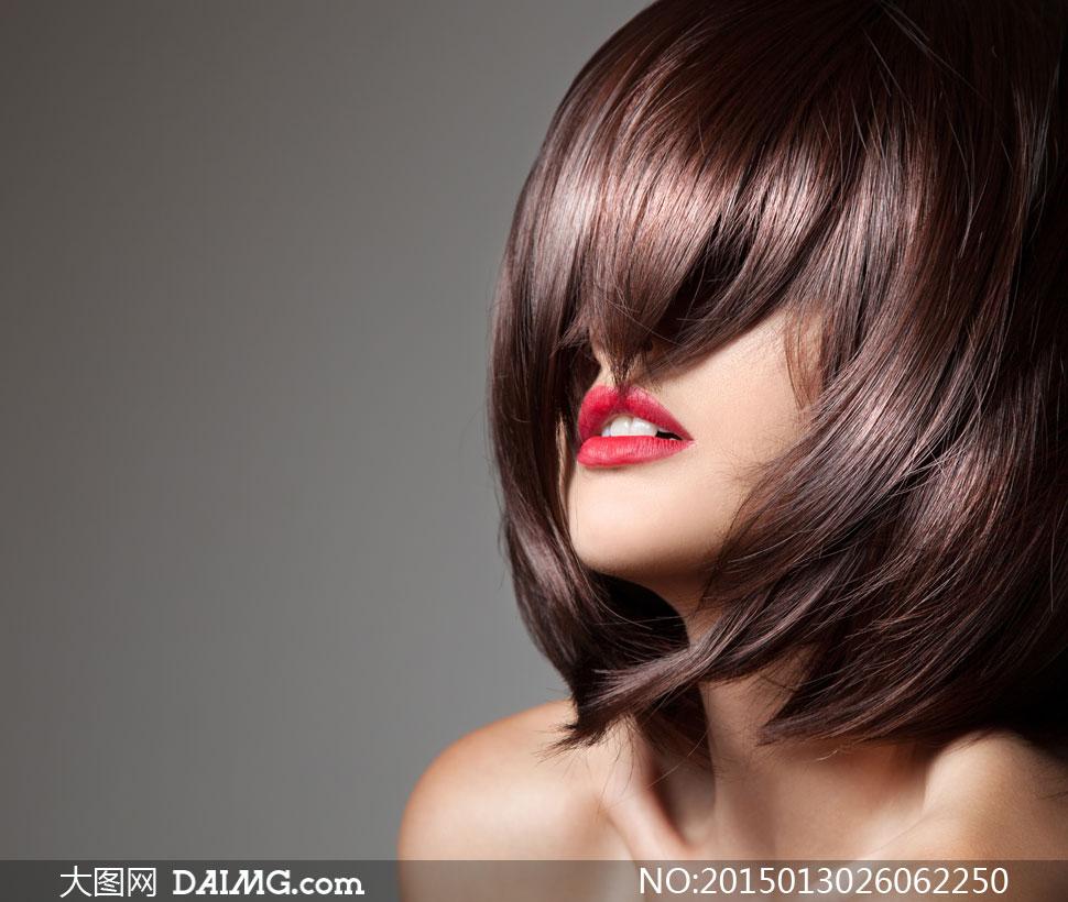 高清摄影大图图片素材人物美女女性女人模特秀发亮泽顺滑莹润短发发型图片