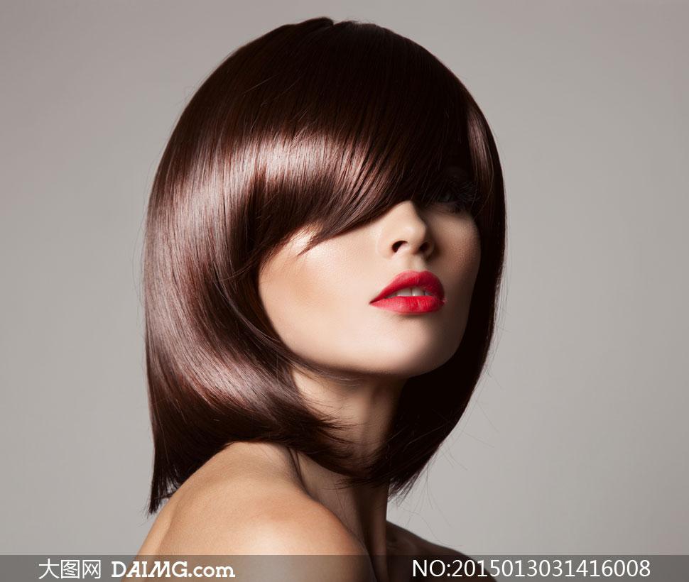 高清摄影大图图片素材人物美女女性女人模特秀发短发