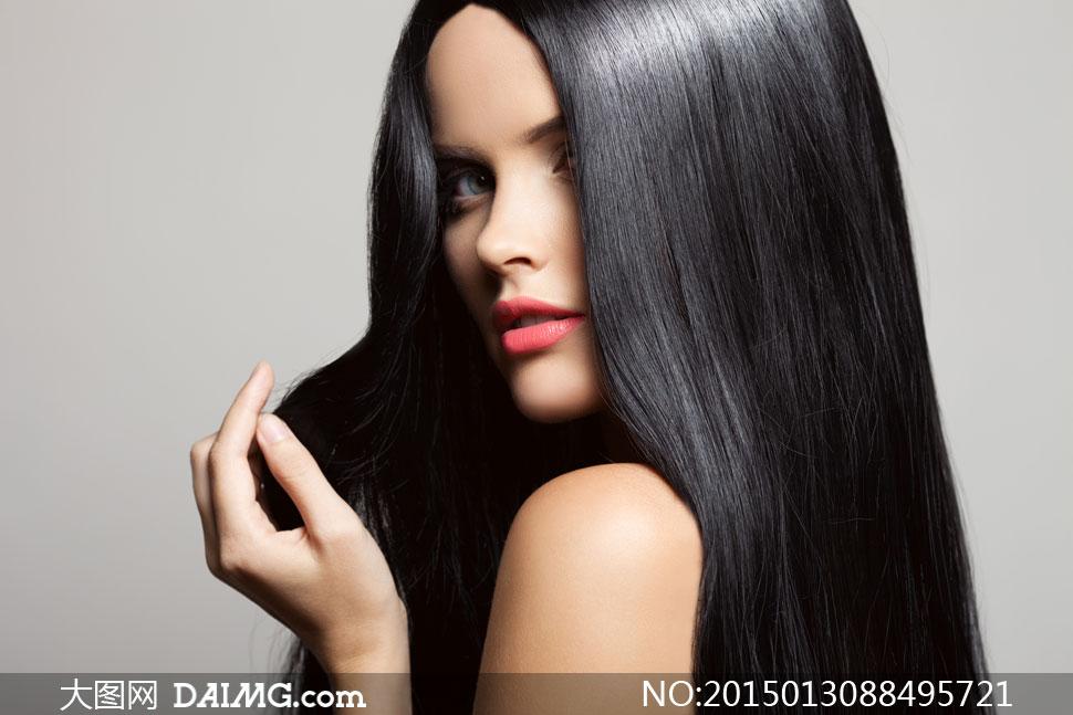 黑亮披肩长发美女模特摄影高清图片