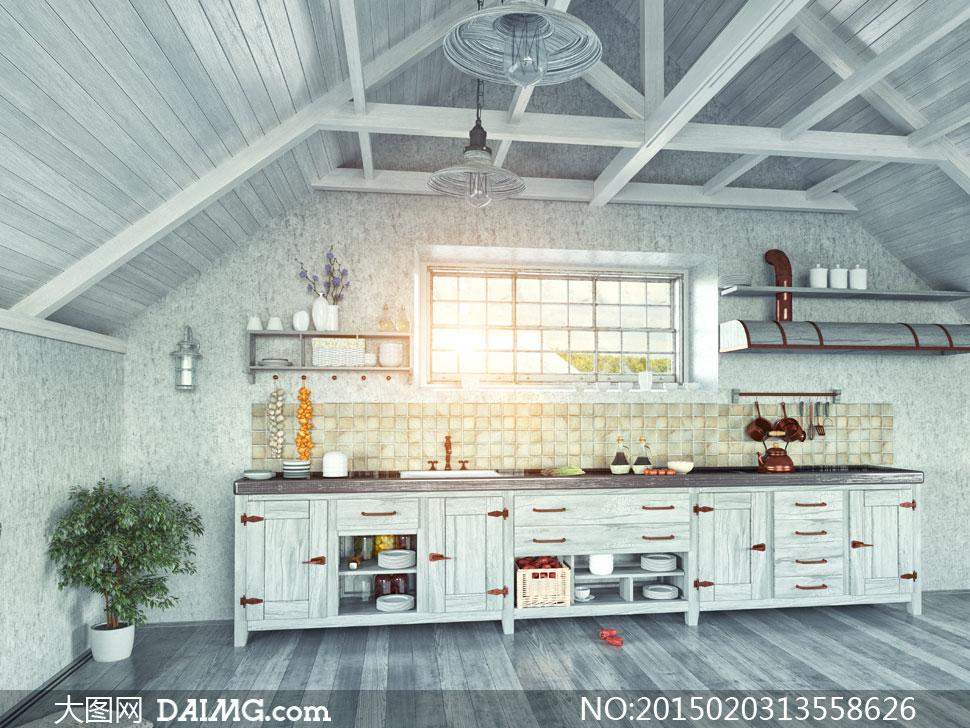 木结构房屋的厨房内景摄影高清图片 - 大图网设计素材