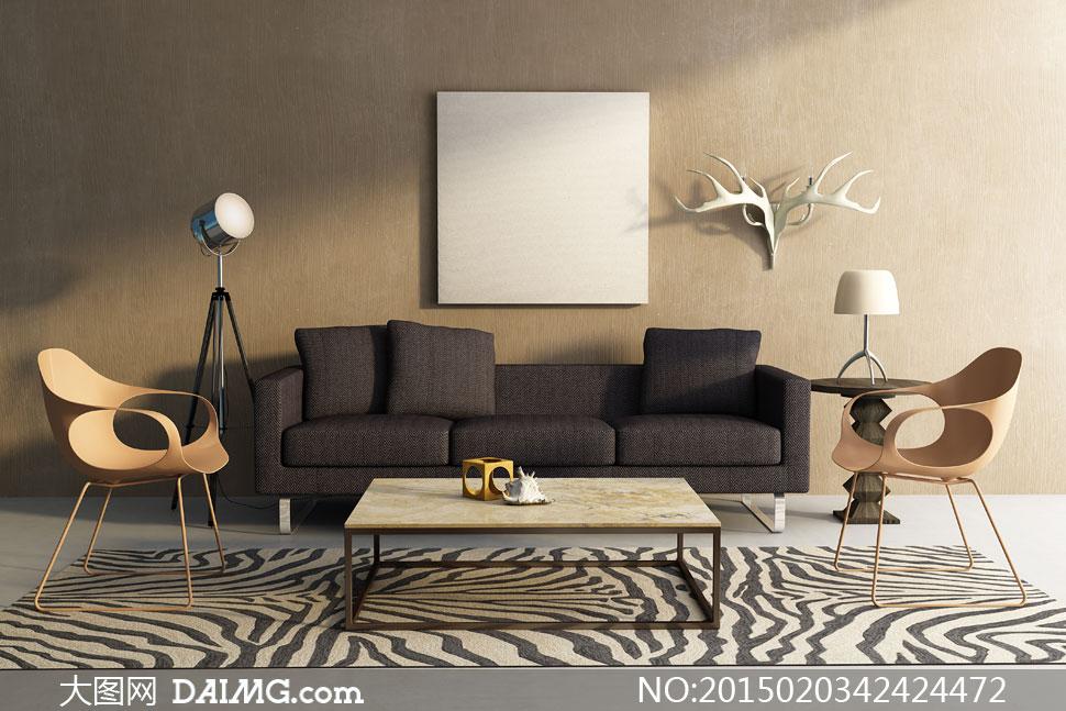 沙发椅子与空白装饰画摄影高清图片