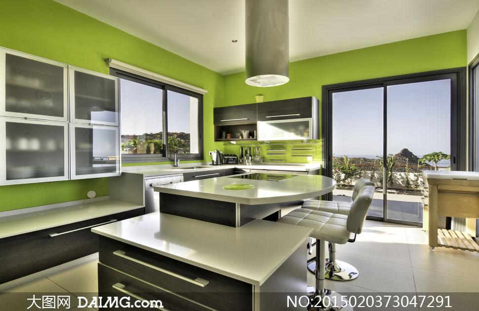 欧式厨房内景灯光照明摄影高清图片图片