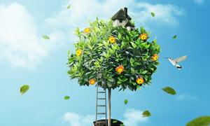 长在人物身上的树木PS教程素材