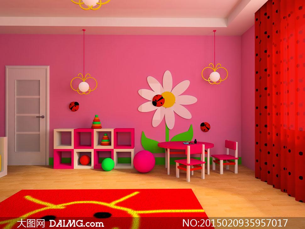 儿童床红色粉红色桌子桌椅椅子球体瓢虫地毯木地板房