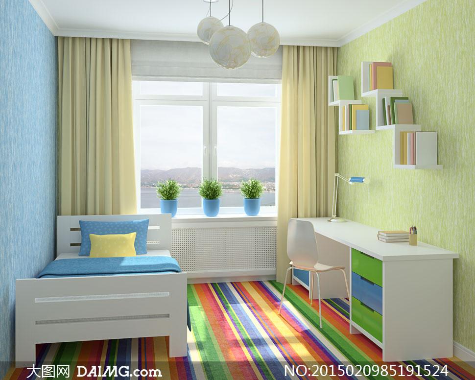 台灯书桌书架与儿童床摄影高清图片