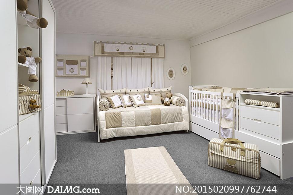 摆设陈列内景家具儿童房儿童床手提包包包地毯衣柜玩