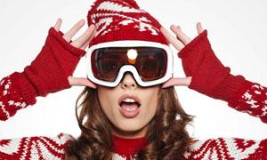 戴着护目镜的毛衣女子摄影高清图片