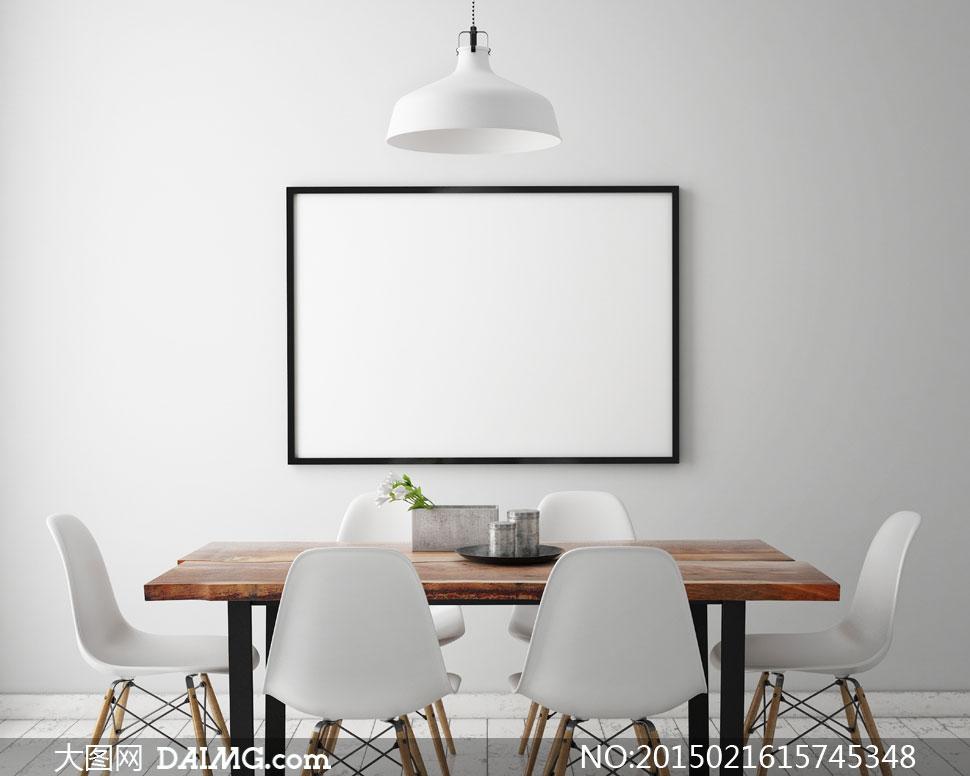 餐厅桌椅布置与空白画框等高清图片 大图网素材daimg Com