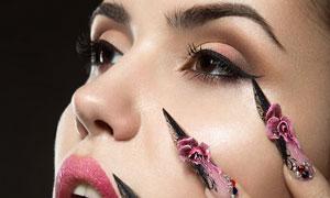 美甲妆容美女模特人物摄影高清图片