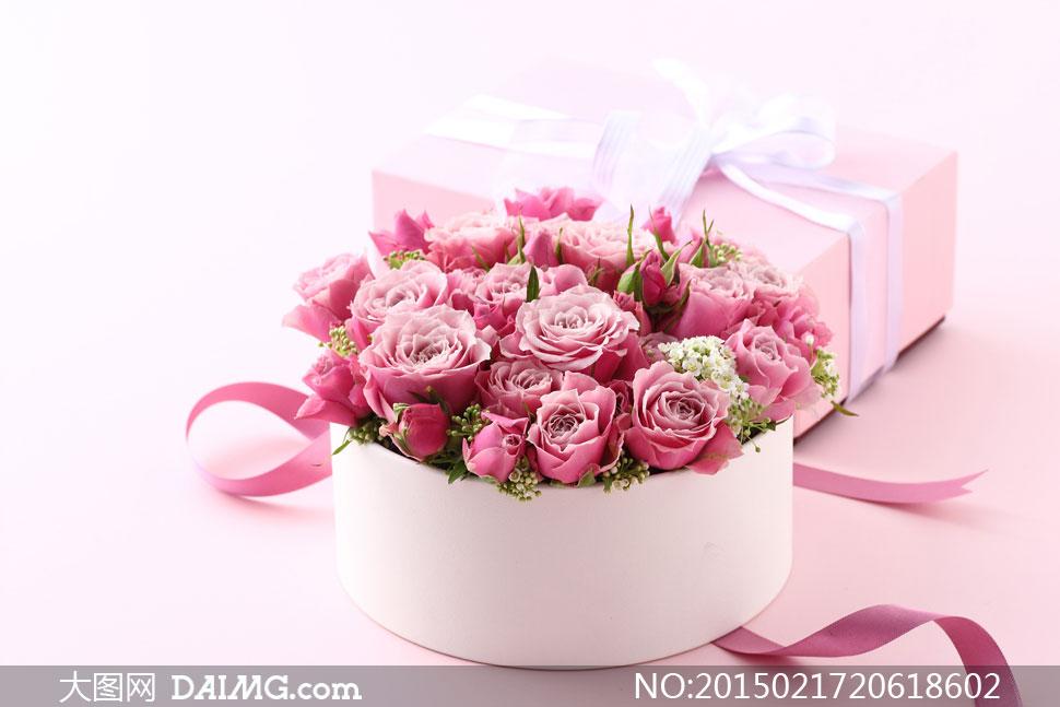 粉红色玫瑰花与礼物盒摄影高清图片 - 大图网设计素材下载