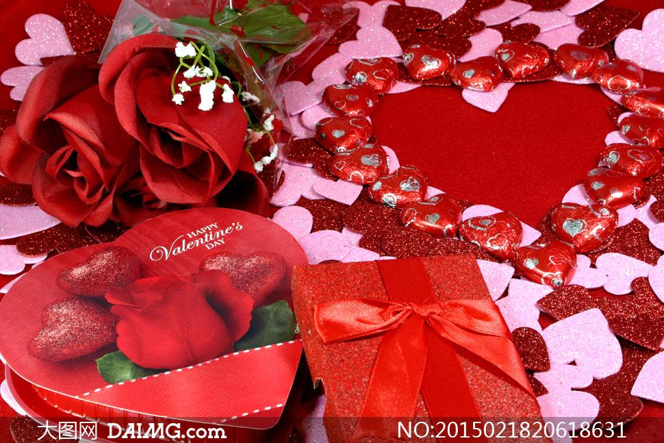 玫瑰花朵与礼物盒等情人节高清图片