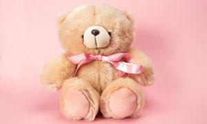 系着丝带的泰迪熊玩具摄影高清图片