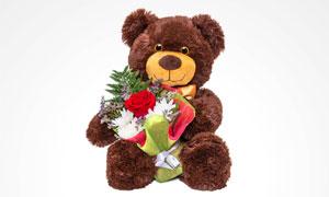 抱着花束的可爱玩具熊创意高清图片