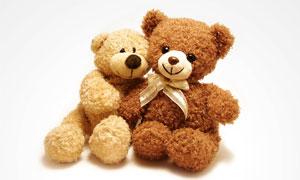 依偎在一起的可爱玩具小熊高清图片