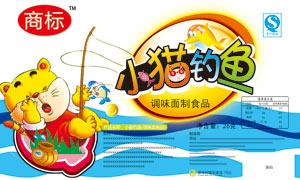 小貓釣魚麻辣素食包裝設計PSD源文件