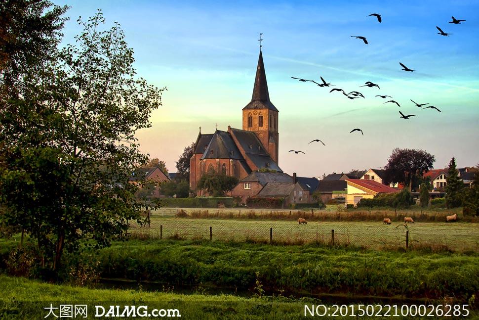 西方教堂外景摄影图片