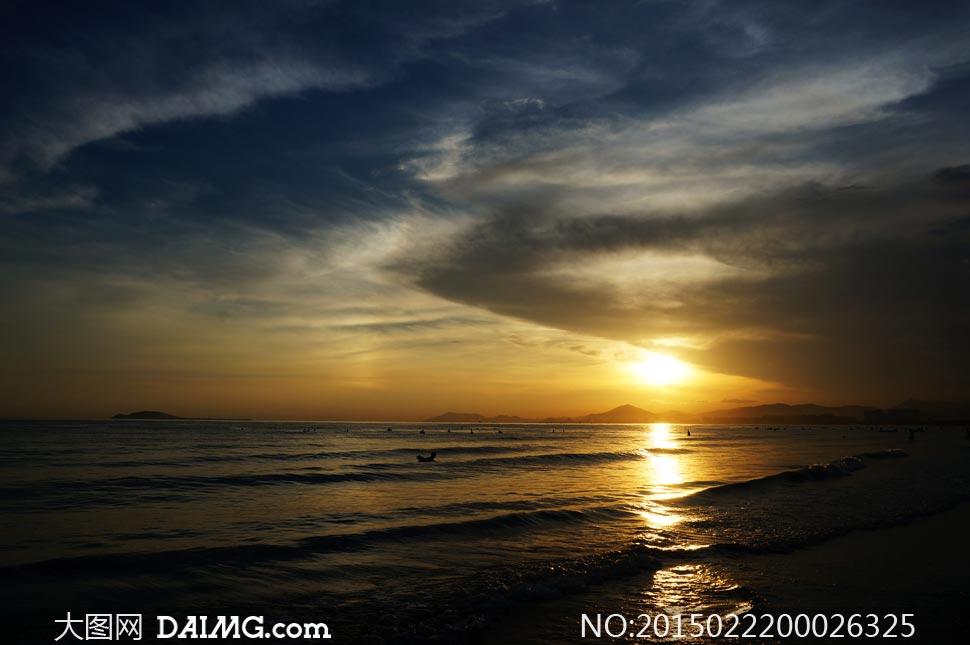 三亚海边夕阳景色摄影图片