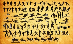 各種體育運動的人物剪影PS形狀