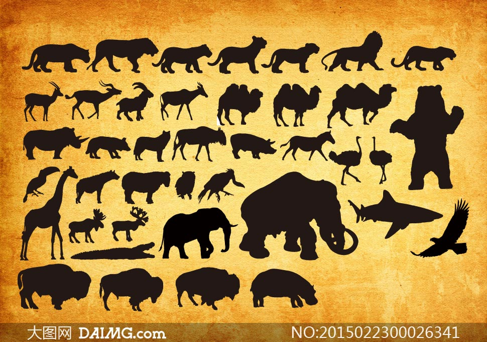 各种动物剪影ps形状