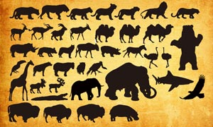 各種動物剪影PS形狀