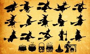 萬圣節巫婆和鍋爐PS形狀