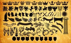 歐式花紋和盾牌皇冠等元素PS形狀