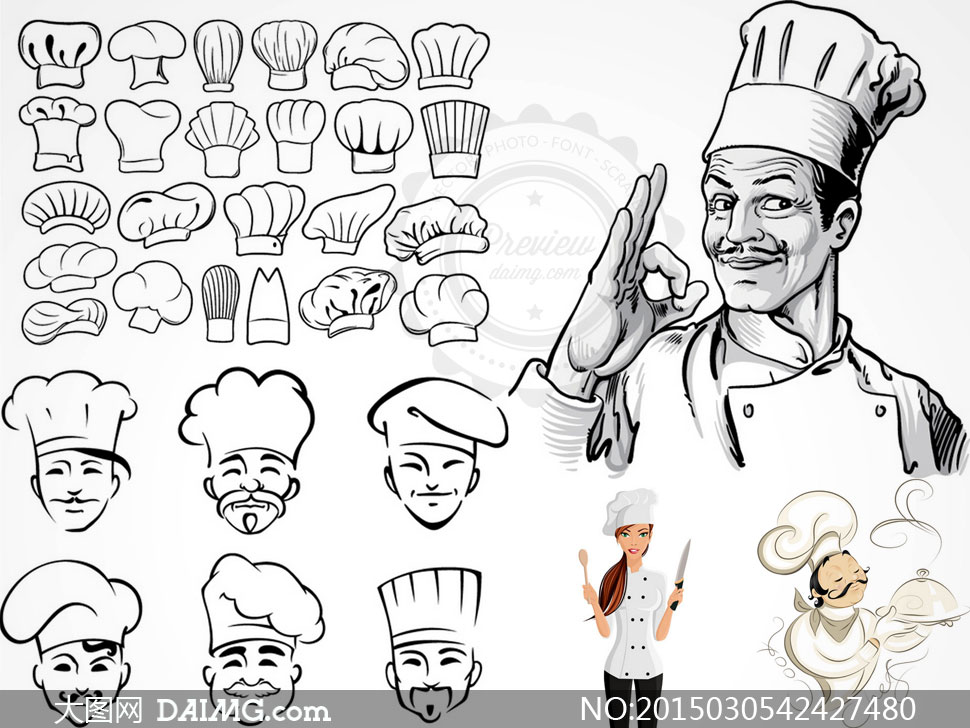 厨师帽与素描厨师人物创意矢量素材图片