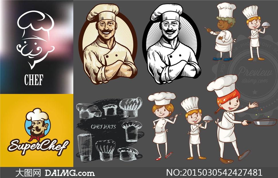 美女手绘职业西装帽主妇制服人物肖像厨师厨师帽子素描美女图片的着图片
