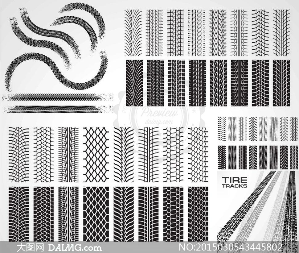 汽车轮胎印记痕迹主题矢量素材v2