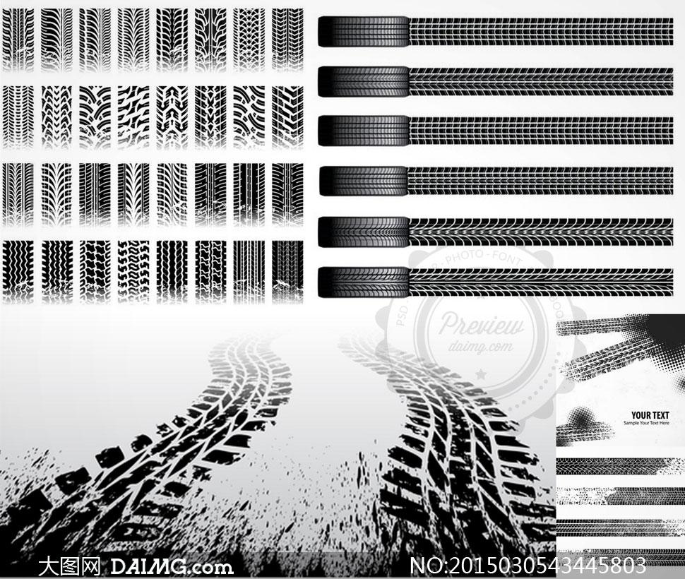 汽车轮胎印记痕迹主题矢量素材v3
