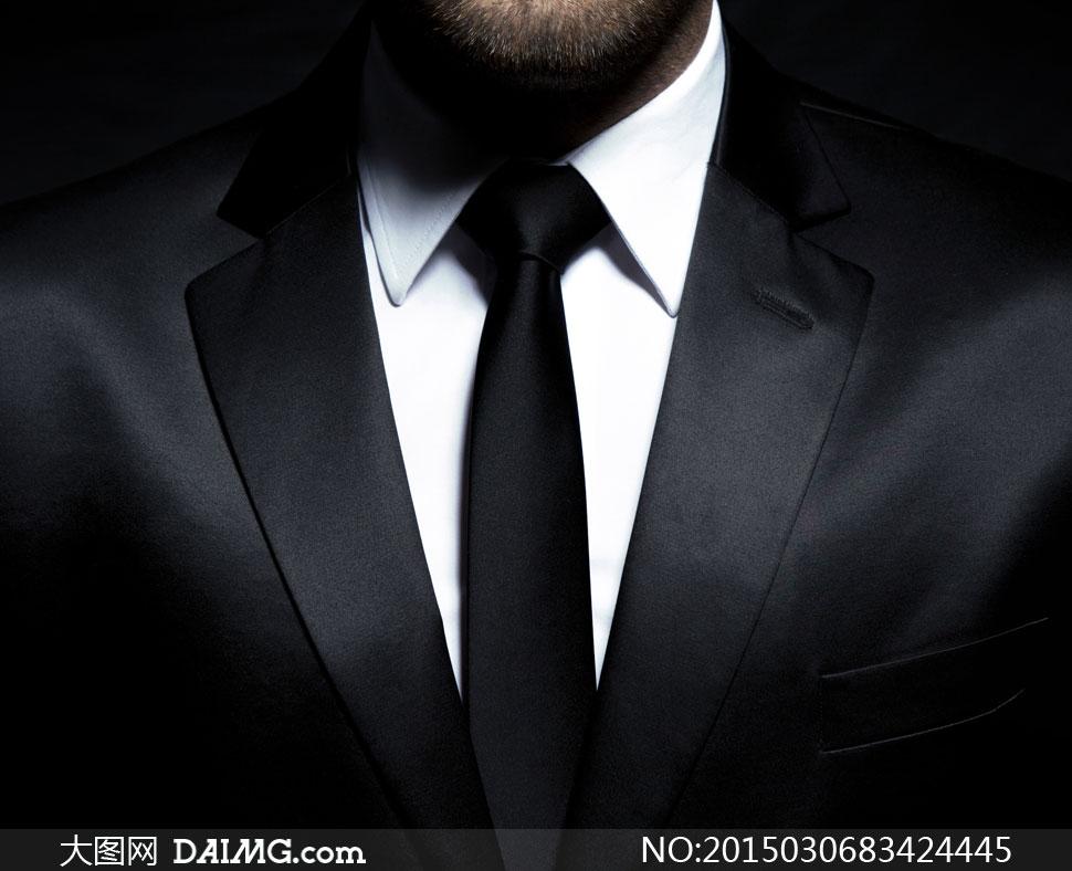 黑白搭配的西装男局部摄影高清图片