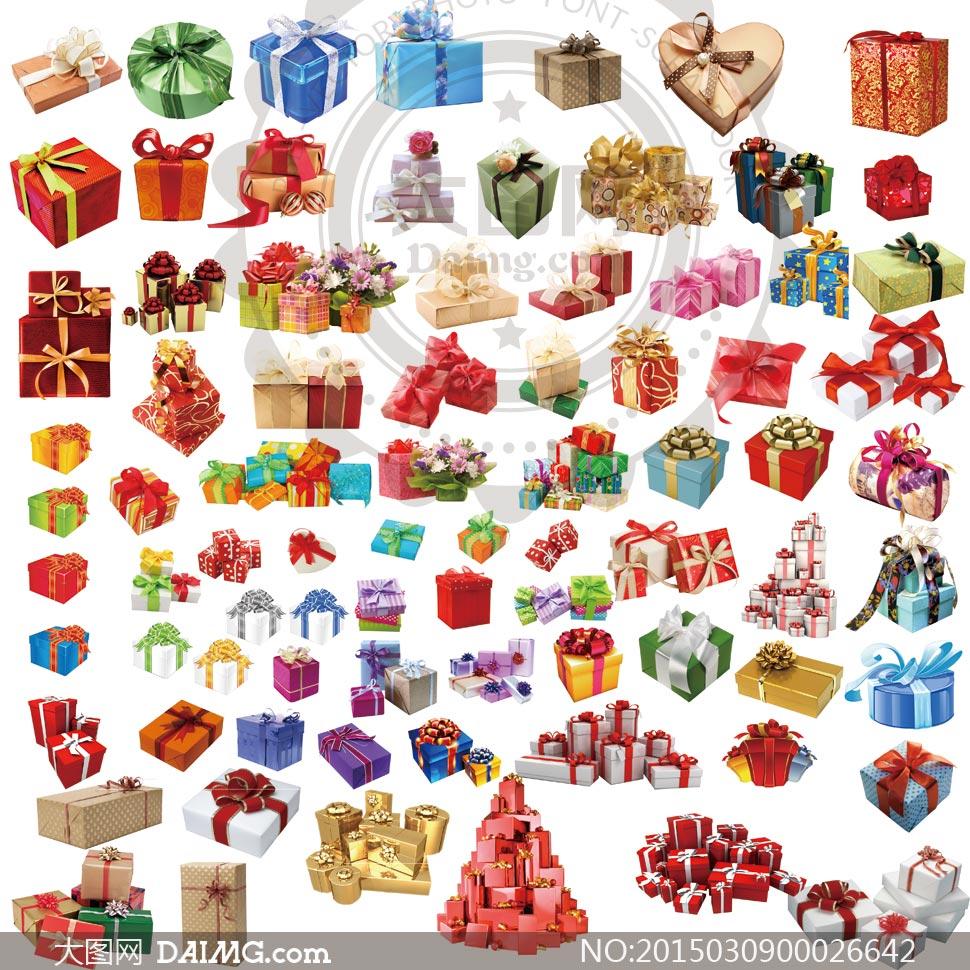 各种礼物和礼盒集合PSD分层素材
