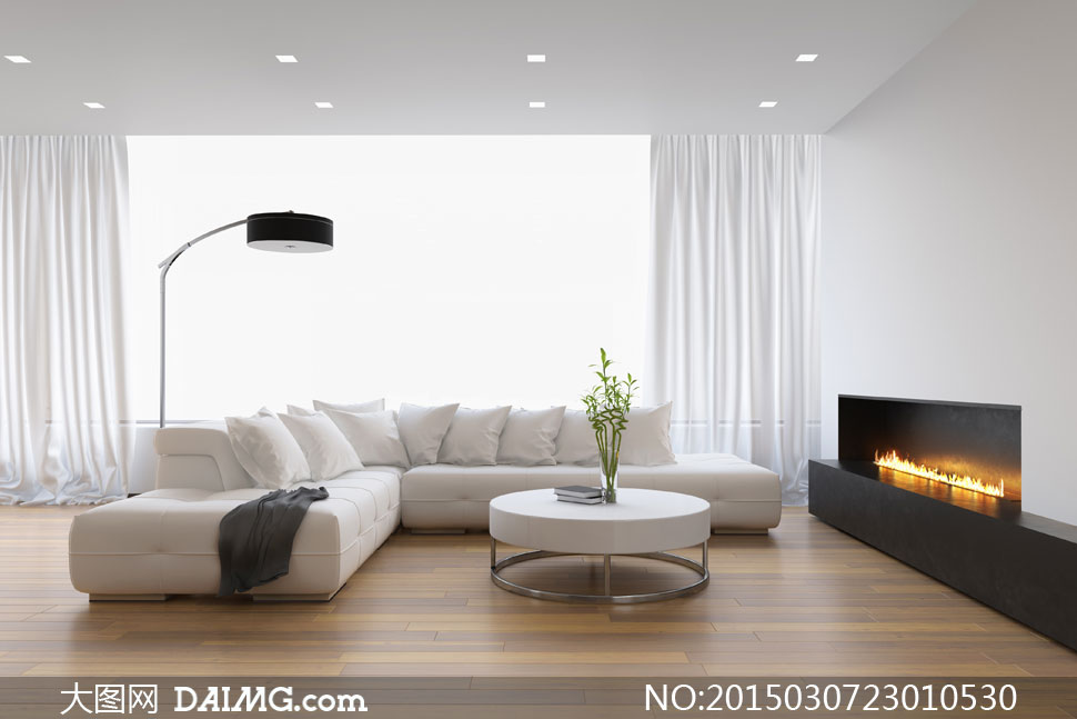 大客廳里的沙發等家具攝影高清圖片