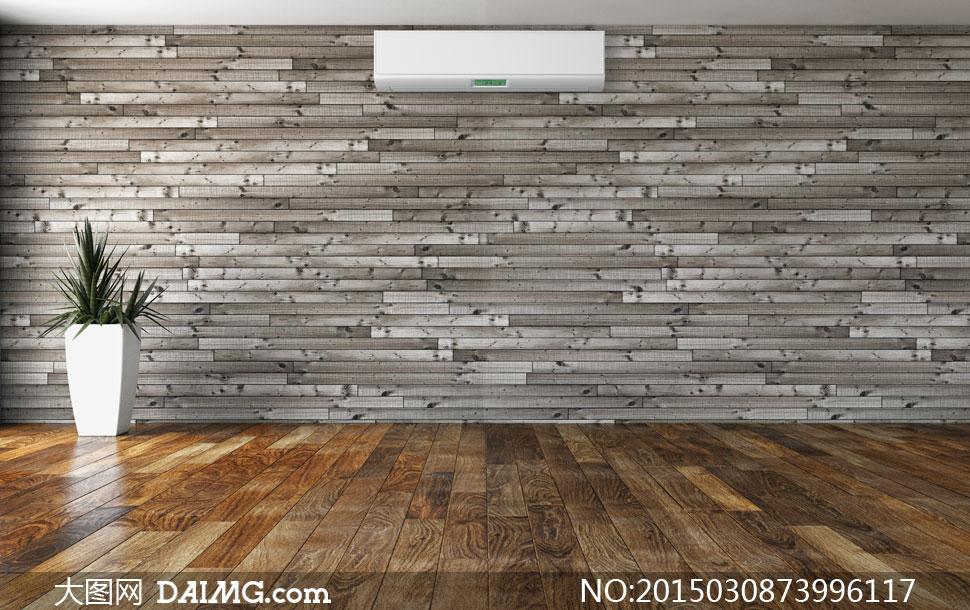 木地板与木板墙上的空调等高清图片