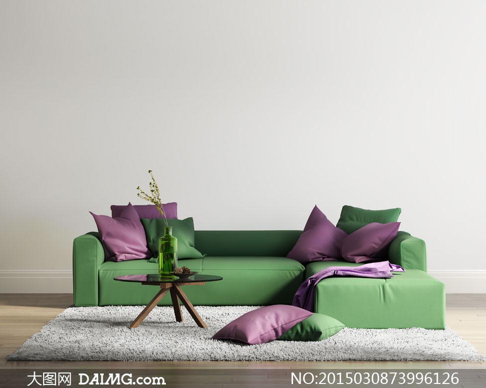 室内沙发枕头渲染效果设计高清图片图片
