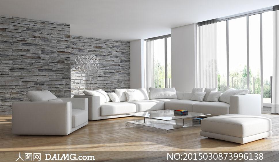 大客厅里的沙发茶几等摆设高清图片