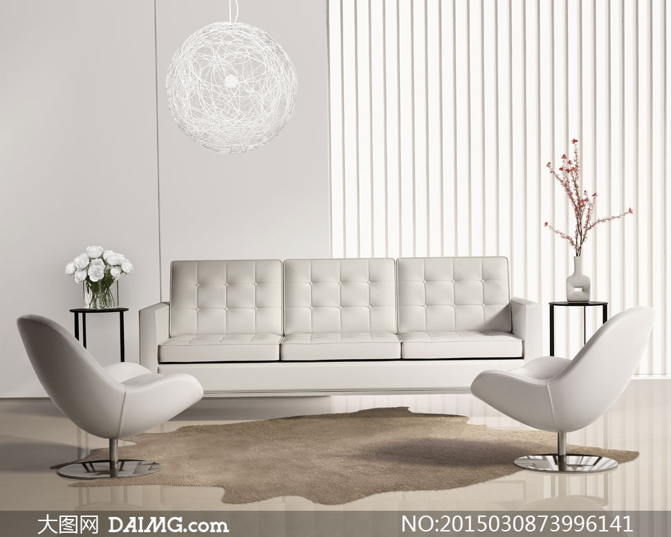 客厅房间插花与沙发等摄影高清图片