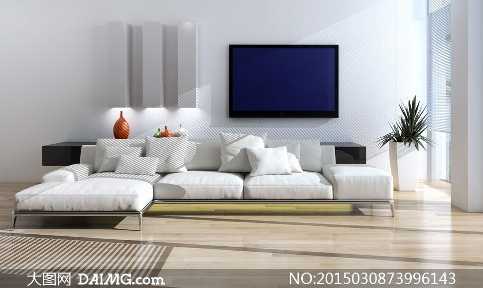 客厅沙发与组合沙发凳摄影高清图片