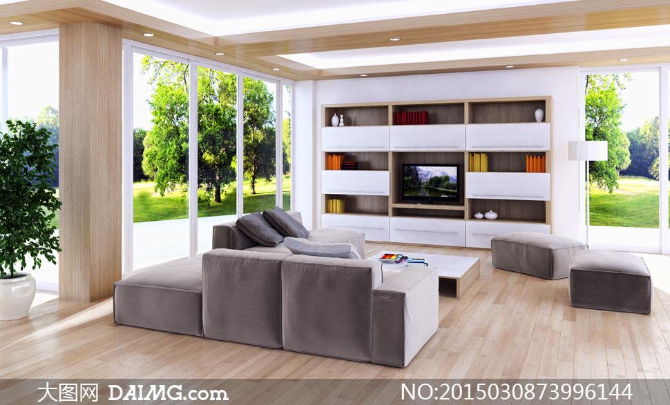 客廳電視機與沙發家具攝影高清圖片
