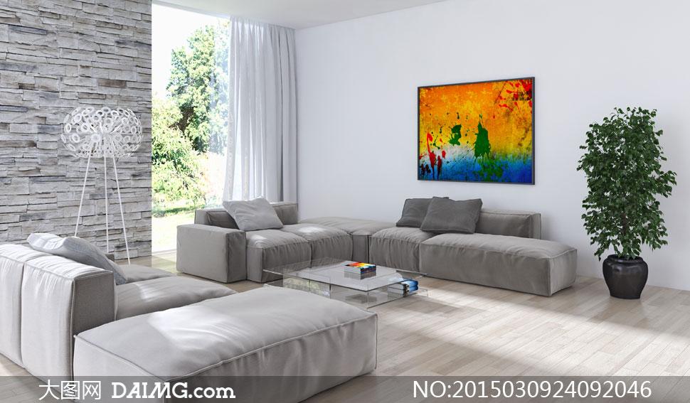 客厅喷溅效果装饰画与家具高清图片