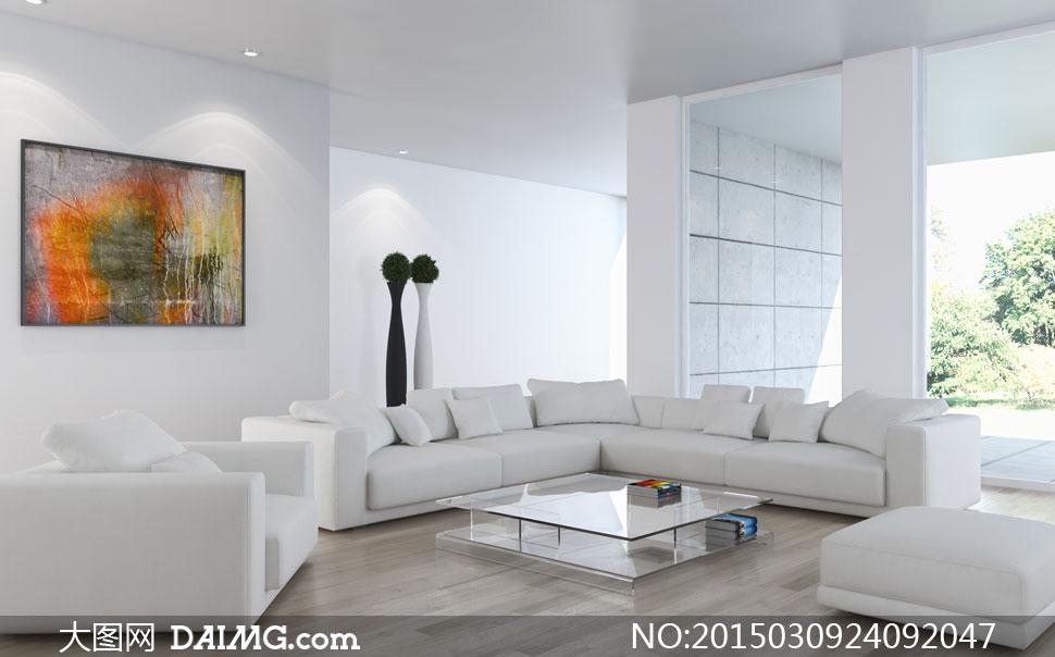 客厅白色沙发与茶几杂志等高清图片