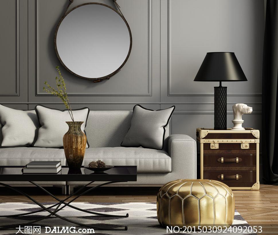 房间沙发枕头茶几台灯摄影高清图片