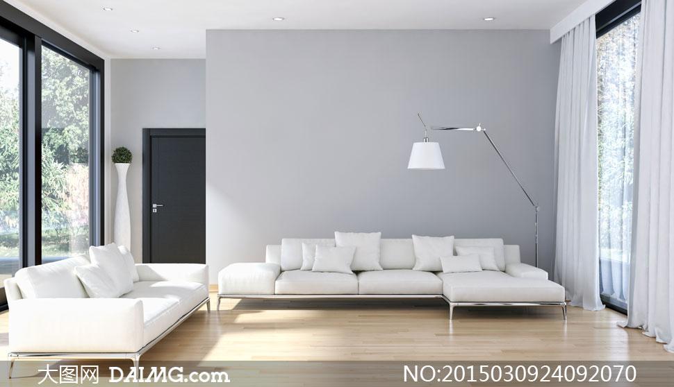 客厅组合沙发与落地灯摄影高清图片