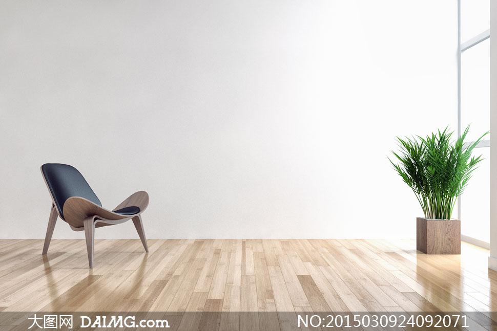 房间里的绿色植物与椅子等高清图片高清图片