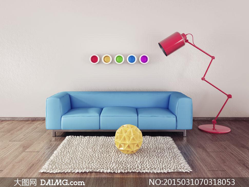 蓝色沙发与红色落地等摄影高清图片