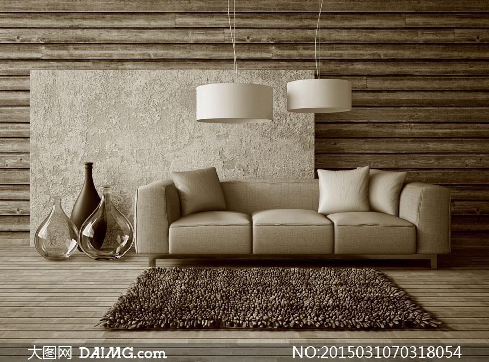 地毯吊灯与沙发装饰品摄影高清图片