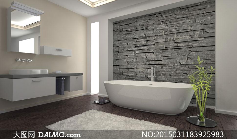 浴室里的洗手台与浴缸摄影高清图片